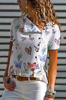 Classy Splicing Butterfly Print Blouse