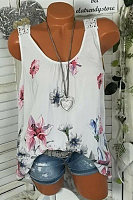 Fashion - Women's summer back lace round neck print vest