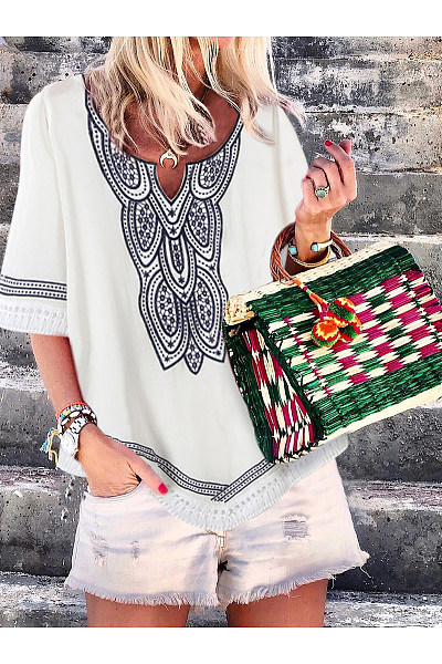 Bohemian Batwing Sleeve Printed Colour Splicing Inwrought T-Shirt