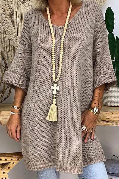 V Neck Plain Loose-Fitting Sweater