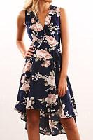 Surplice  Floral Printed  Sleeveless Maxi Dresses