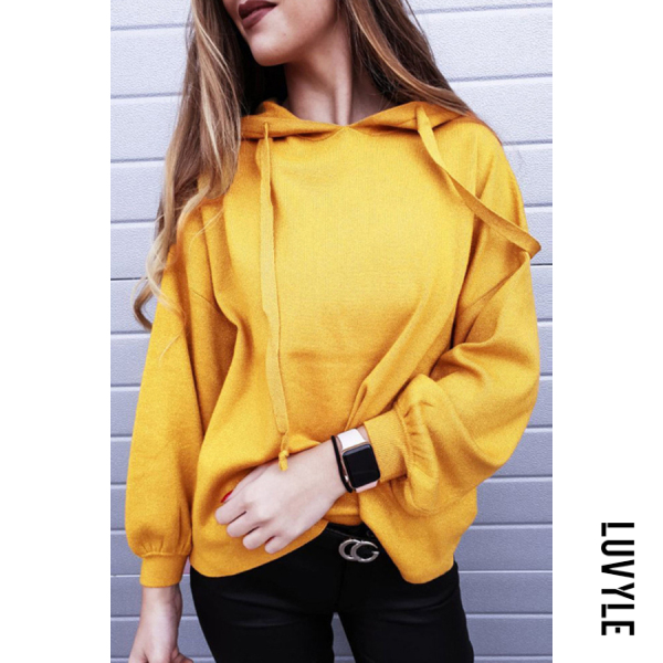 Yellow Hooded Loose Fitting Plain Hoodies Yellow Hooded Loose Fitting Plain Hoodies