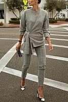 Casual Long Sleeve Pure Colour Belted Sweaters