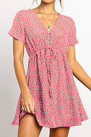 Fashion V-Neck Short-Sleeved Dot   Chiffon Mini Dress