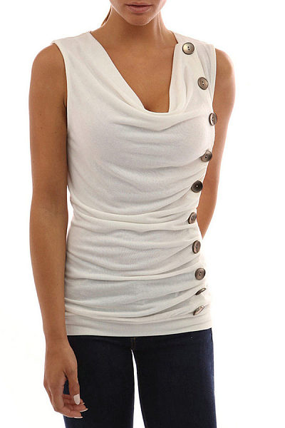 V Neck  Single Breasted  Patchwork T-Shirts