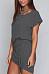 Round Neck  Asymmetric Hem  Belt  Plain  Batwing Sleeve  Extra Short Sleeve Casual Dresses