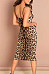 Spaghetti Strap  Backless  Leopard Printed  Sleeveless Bodycon Dresses