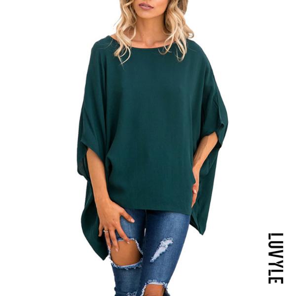 Green Round Neck Asymmetric Hem Plain Batwing Sleeve T-Shirts Green Round Neck Asymmetric Hem Plain Batwing Sleeve T-Shirts