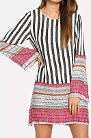 Round Neck  Striped  Bell Sleeve  Long Sleeve Casual Dresses