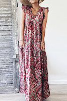 Plus Size V Neck Printing Sleeveless Maxi Dress