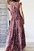 Plus Size V Neck Printing Sleeveless Maxi Dress