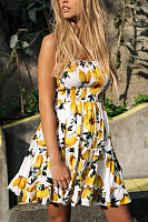 Strapless  Printed  Sleeveless Skater Dresses