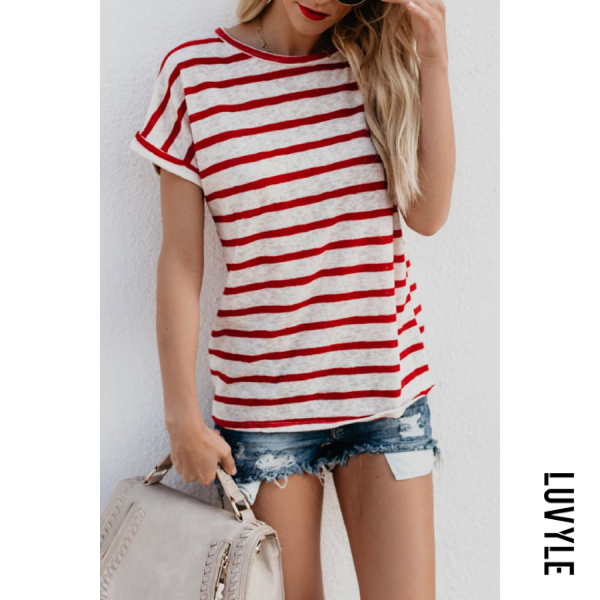 Red Crew Neck Striped Casual T-Shirts Red Crew Neck Striped Casual T-Shirts