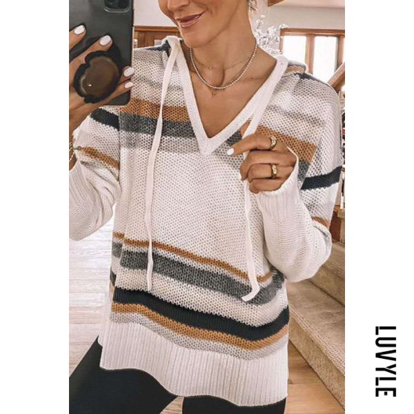 White Hoodied V Neck Striped Loose Sweater White Hoodied V Neck Striped Loose Sweater