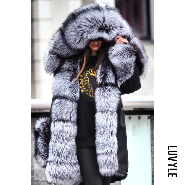 Noble Luxury Punk Style Faux Fur Overcoat - from $76.00