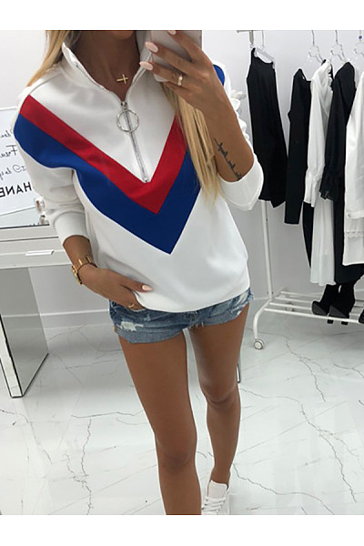 Band Collar  Zipper  Striped  Sweatshirts