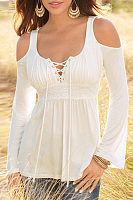 Open Shoulder V Neck  Lace Up  Plain T-Shirts