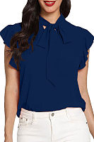 Casual Bow-Tied Short-Sleeved Blouse