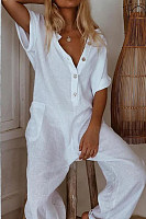 Casual Short Sleeve Pure Color Jumpsuits