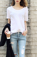 Round Neck  Patchwork  Plain T-Shirts