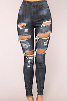 High Waist Denim Holes Slim Jeans Pants