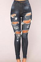 High Waist Denim Holes Slim Jeans Pants