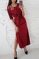 Round Neck  Asymmetric Hem  Embroidery  Long Sleeve Maxi Dresses