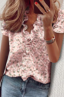 V Neck Short Sleeve Ruffle Printed Blouse