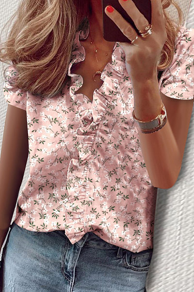 V Neck Short Sleeve Ruffle pink Printed Blouse