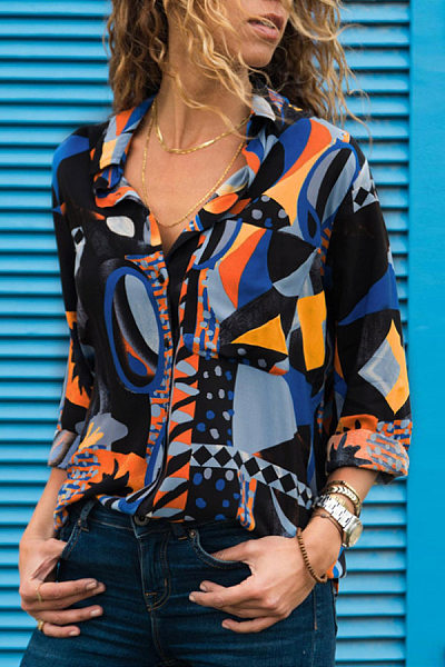 Geometric Print V-Neck Long Sleeve Shirt