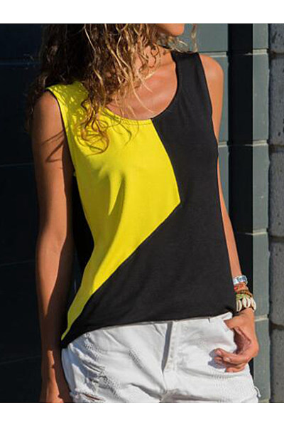 Scoop Neck Sleeveless Color Block T-Shirts