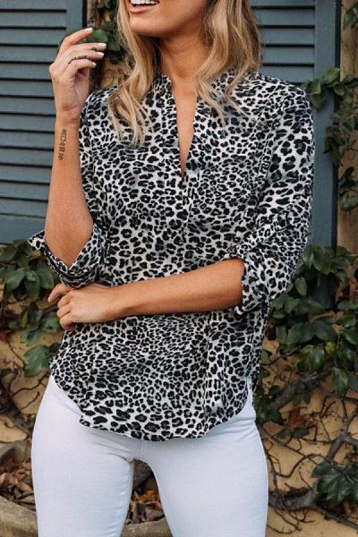 V Neck  Leopard  Blouses