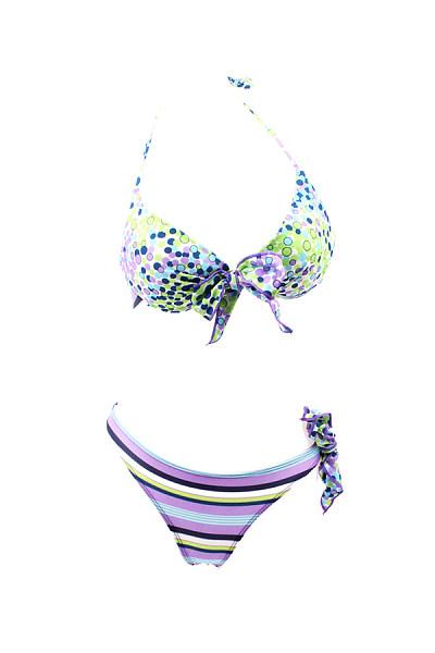Halter  Bowknot  Printed Bikini