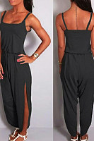 Spaghetti Strap  Elastic Waist High Slit  Plain  Sleeveless Jumpsuits