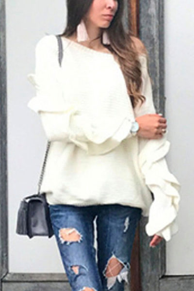 Scoop Neck  Plain  Puff Sleeve Sweaters