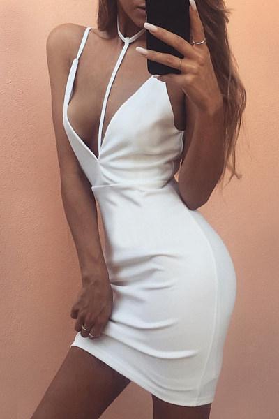 Spaghetti Strap Patchwork Plain Bodycon Dress