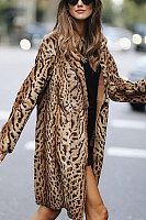 Fold Over Collar  Animal Printed Outerwear