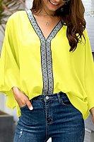 Casual V-Neck Splicing Webbing Horn Long-Sleeved Shirt