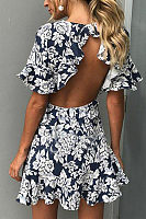 Round Neck  Backless  Floral Printed  Bell Sleeve  Short Sleeve Skater Dresses