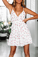 V-Neck Sleeveless Sweet Print Halter Hooded Sweet Dress