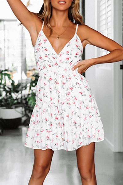 V-Neck Sleeveless Sweet Print Halter Hooded Sweet Dress