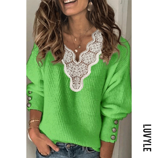 Sweater | Casual | V-neck | Lady | Lace