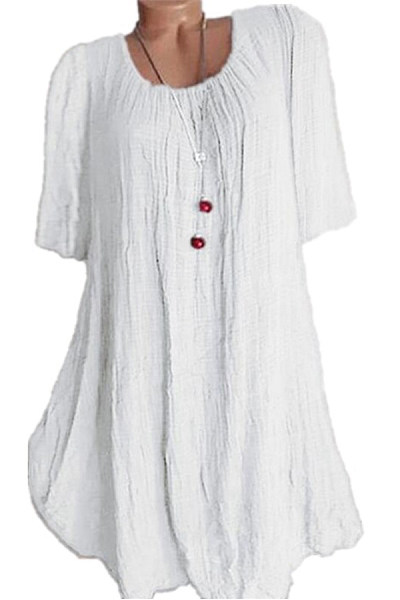 Casual Round Neck Pure Colour Half Sleeve Loose Dress