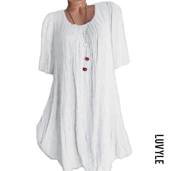 White Casual Round Neck Pure Colour Half Sleeve Loose Dress White Casual Round Neck Pure Colour Half Sleeve Loose Dress