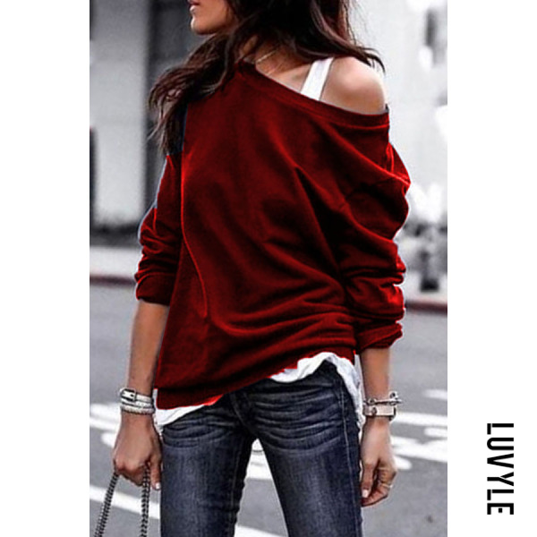 Red One Shouder Casual Soft Long Sleeve T-Shirt Red One Shouder Casual Soft Long Sleeve T-Shirt