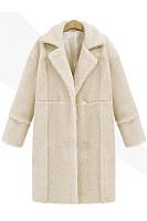 Lapel Plain Zips Single Button Longline Woolen Coat