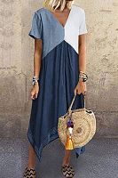 V-neck short sleeve solid color dress