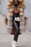 Street Fashion Thick Faux Fur Hooded Fluffy Coat