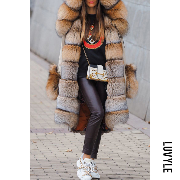 Street Fashion Thick Faux Fur Hooded Fluffy Coat - from $76.00