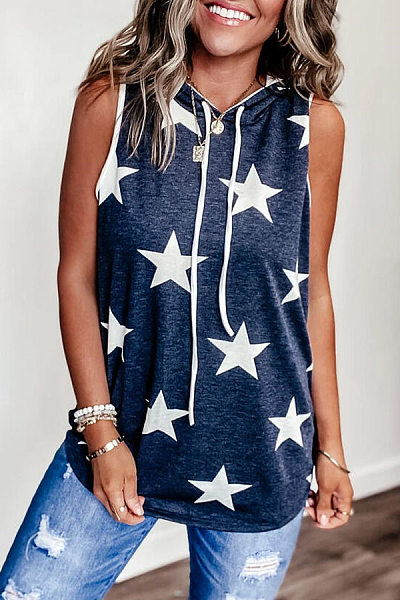 Star Hoodied Sleeveless T-shirt